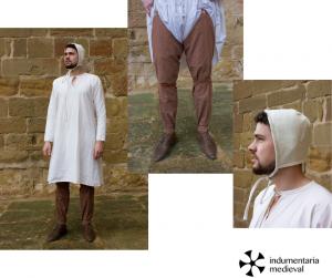 calzas, camisa y parlota vestimenta medieval hombre